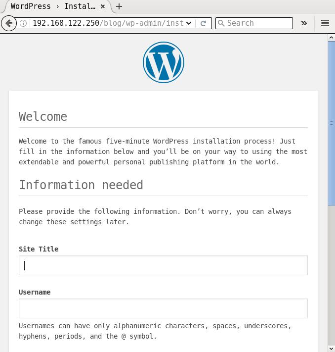 WordPress default page